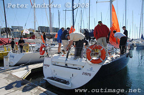 Terry Wise's Beneteau First 47.7 Kioni at the dock alongside Dean Harrigan's ...